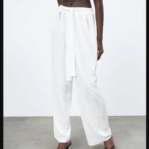 New Zara White Flowy Wide Leg Pants Trousers Tie Waist Flowing 0264-115 Size XS
